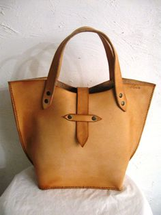 Hand Crafted Small Shopper, Natural Cow Hide Leather