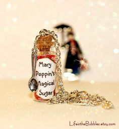 ♫ MARY POPPINS Spoonful of Magical Sugar Necklace including a Spoon Charm  ♫