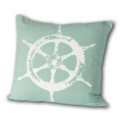 Montauk Ships Wheel Square Nautical Linen by CricketRadioVermont