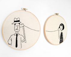 DIY far away friends embroidery from Scathingly Brilliant
