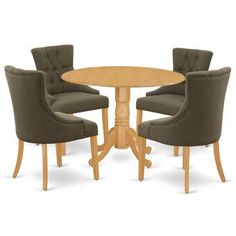 Astoria Grand Chalus 7 Piece Extendable Dining Set & Reviews | Wayfair Wood Table Bases, Solid Wood Table Tops, Solid Wood Dining Set, Round Dining Room Sets, Round Dining Table, Dining Room Chairs, Kitchen Chairs, Dining Area, Mid Century Dining Table