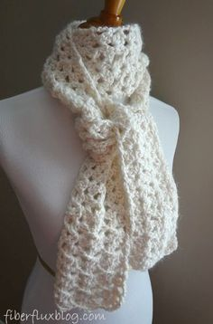 Vanilla Bean Scarf, a free crochet pattern from Fiber Flux
