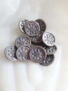 Metal 5/8 Buttons Flower Pewter Purple 16mm-12 pieces via Etsy