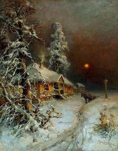 Dumitru Coțe - Google+Artist : Julius von Klever (Russian , 1850 - 1924) Title : Horseman in a Sleeping Village .