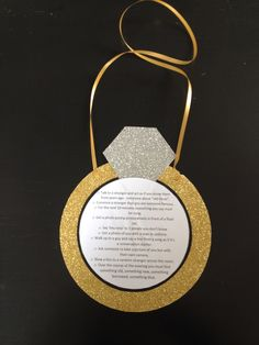 Bachelorette dare necklace. Gold ring with diamond. Bucket list of things for bride to complete during the evening. Sparkly!