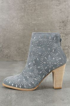 "Put some spring in your step with the Matisse Springfield Dusty Blue Embroidered Suede Leather Booties! Grey geometric embroidery dazzles across these genuine suede booties, with a stylish almond toe. 3.75"" heel zipper."