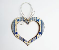 Heart hanging decoration wooden decor folk by MKedraHandmade, $7.00