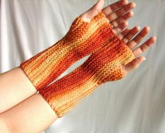 Knit armwarmers orange and brown striped fingerless by TinyOrchids, $25.00