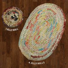 Moda Crochet Rugs. Learn how to make a rug from Jelly Rolls! Fabric Depot blog // Thread & Fiber