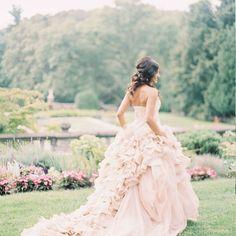 The trend I think every bride can get behind? Millennial pink!Wedding Dress: @verawanggang