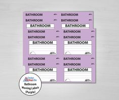 Bathroom Moving Labels (Purple)
