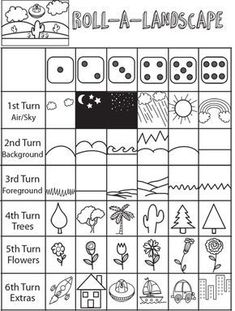 Drawing Games for Kids : Roll the Dice Drawing Game - How to Draw Step by Step Drawing Tutorials - Roll a Dice Landscape Drawing Game for Kids - Drawing Games For Kids, Art For Kids, Story Games For Kids, Drawing Ideas Kids, Drawing Classes For Kids, English Games For Kids, School Games For Kids, Kids Math, Art Drawings For Kids