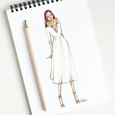 Style of Brush by Gizem Kazancıgil gizem kazancigil Dress Drawing, Drawing Clothes, Fashion Design Drawings, Fashion Sketches, Fashion Illustrations, Top Model Fashion, Arte Fashion, Different Art Styles, Illustration Mode