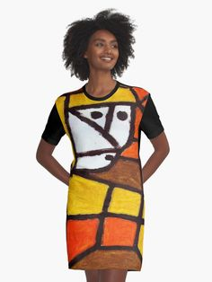 """""""Woman in a Peasant Dress"""" inspired this Graphic T-Shirt Dress #art tees #Paul Klee #fashion art # wearable art Paul Klee, Wearable Art, Tees, Shirts, Shirt Dress, Inspiration, Dresses, Women, T Shirts"""
