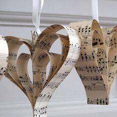 handmade vintage music heart decoration by re:made | notonthehighstreet.com - staple bottom edge.