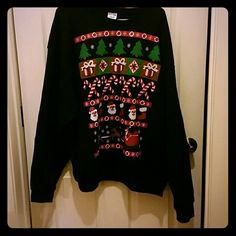 Black tribal Christmas sweater 2x Christmas crew neck Urban Outfitters Sweaters Crew & Scoop Necks