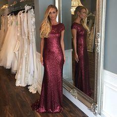 Robe De Soiree 2015 Fuchsia Sequins Mermaid Evening Dresses Long Prom Party Gowns Vestidos Festa Longo