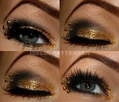 Products I have used for this look:  MAC Paint Pot  bareminerals liner shadow - onyx  bareminerals glimmer - true gold  Gosh Velvet Touch Eyeliner - Black ink  Helena Rubinstein dipliner - 01 Black  Ardell Fashion Lashes - 116 black  Duo vippelim - to attach the lashes and gold balls  Diorshow mascara Extase  Gold Balls from Panduro  Make Up Store Liquid Mixing - to stick with glitter.