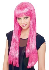 Glitzy Glamour Long Pink Wig