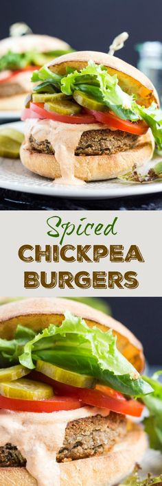 Spiced Chickpea Burgers, paired with smoky chipotle sour cream, are perfect for a quick vegetarian lunch or dinner.