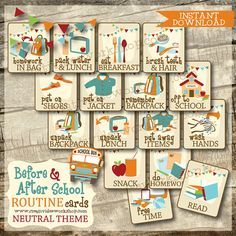 BUNDLE - School Routine Card Bundle - Before and After School Routine Cards - Neutral Theme - 18 Printable Cards - Instant Download