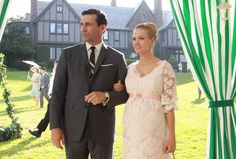 """Don and Betty at Margaret Sterling's engagement party in Season 3's """"My Old Kentucky Home""""."""