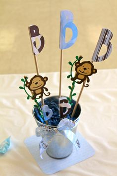 Baby Shower Monkey Boy  Centerpieces Janie made for Brantley