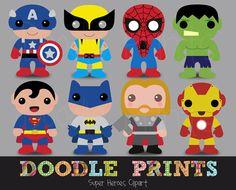 Digital Clip Art Printable - Super Heroes Clipart Design - Super Heroes Scrapbook - Personal Use Only. $7.00, via Etsy.
