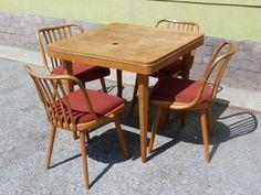 Vintage table + 4 chairs 60s Antonín Šuman  #vintage#retro#dizajn#aragorngallery#retrodizajn Vintage Table, Dining Chairs, Retro, Furniture, Home Decor, Decoration Home, Room Decor, Dining Chair, Home Furnishings