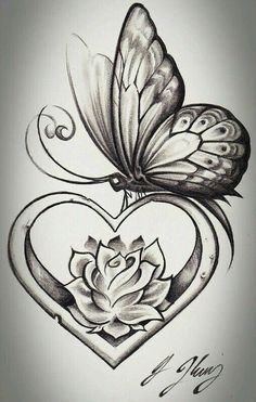 heart shape butterfly tattoo design tattoos tattoos, butterfly - rose and butterfly drawing Rose And Butterfly Tattoo, Butterfly Drawing, Butterfly Tattoo Designs, Tattoo Flowers, Butterfly Wings, Rose Heart Tattoo, Feather Drawing, Simple Butterfly, Flower Drawings