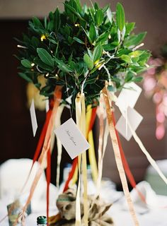 rustic tree centrepiece adorned with fairy lights, ribbons and escort cards - great idea! / Depict Photography