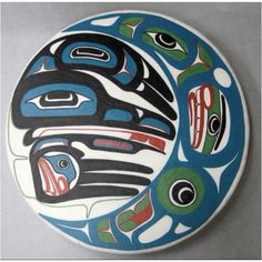 """Harvest moon Drum by Goothl T'similx of the Nisga'a, Tlingit, and Tsimshian Nations. - """"You can ask every Northwest Coast artist, and they'll tell you that some of the best carvers are the ones who have an understanding of ceremony. Taking on that larger chieftainship means that I have more responsibilities, both financially and culturally. Financially in the way of making sure that I can get home to attend feasts and potlatches, culturally by being able to create things for my people."""""""