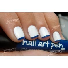 Nail Art Picture of the Day: White base with blue Tips found on Polyvore