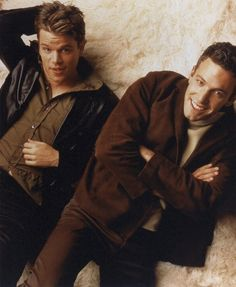 Matt Damon and Ben Affleck - Good Will Hunting Matt Damon Ben Affleck, Ben And Casey Affleck, Hot Actors, Actors & Actresses, Ben Afleck, Good Will Hunting, Jason Bourne, Boy Pictures, Jason Statham