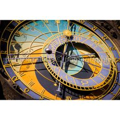 Prague Clock Photo Fine Art photography European Old World Charm... ($9.34) ❤ liked on Polyvore featuring home, home decor, wall art, yellow home decor, photographic wall art, gold home accessories, blue home accessories and old world wall art