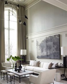 Living room in a French-inspired townhouse in New York