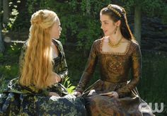 "Reign -- ""A Grain of Deception"" -- Image Number: RE402a_0009.jpg -- Pictured (L-R): Celina Sinden as Greer and Adelaide Kane as Mary, Queen of Scots -- Photo: Ben Mark Holzberg/The CW -- © 2017 The CW Network, LLC. All Rights Reserved"