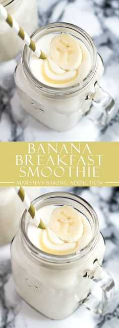 Banana Breakfast Smoothie | http://marshasbakingaddiction.com /marshasbakeblog/