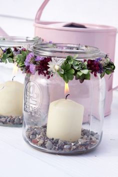 This would be very easy to create using old jars Cute Candles, Candles And Candleholders, Candle Lanterns, Mason Jar Centerpieces, Wedding Table Centerpieces, Mason Jars, Church Wedding Decorations, Table Decorations, Couple Wallpaper Relationships