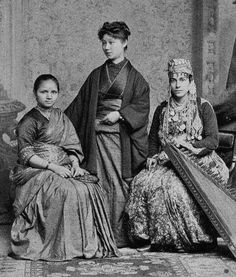 """historicaltimes: """"The first licensed female doctors of India, Japan, and Syria posing together in 1885 Keep reading """""""