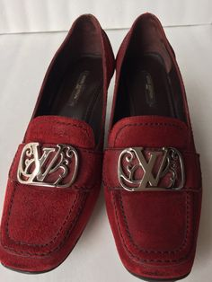 Authentic LOUIS VUITTON red suede loafer high heel shoes  RARE womens 7 37 by TokenVintage on Etsy https://www.etsy.com/listing/235968290/authentic-louis-vuitton-red-suede-loafer