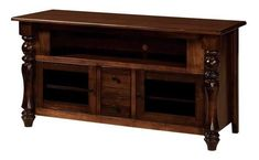 """Amish Empire 59"""" TV Stand Organize, reduce clutter and add a sensational solid wood storage piece to your living room with the Empire. Custom made in Amish country. Choose wood, stain and features to best fit your living room vision. #TVstands"""