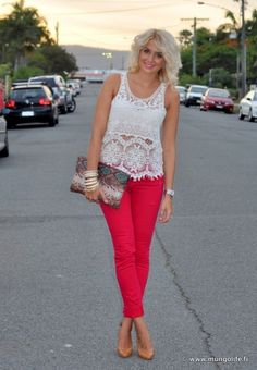 lace top, pink pants and camel shoes