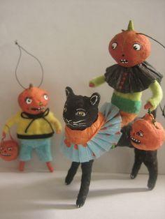 Spun Cotton Halloween Black Cat and Jack o Lantern ornament Maria Paula