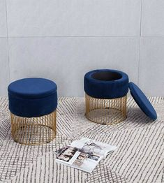 18 stools and ottomans that add style as well as storage to your home - Living in a shoebox Wicker Bar Stools, Diy Bar Stools, Modern Counter Stools, White Bar Stools, Diy Stool, Outdoor Bar Stools, Stools For Kitchen Island, Leather Bar Stools, Modern Stools