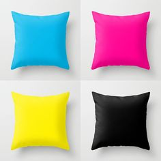 CMYK Pillows CMYK Pillow Set Cyan Pillow by LushTartArtProject