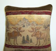 Aspen Moose Pillow Cabin Lodge Chenille Tapestry by timberlineltd, $25.00