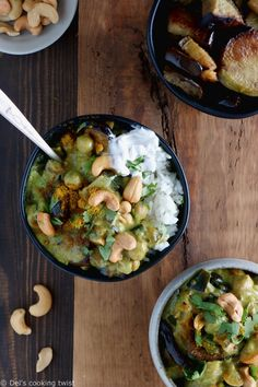 Easy eggplant chickpeas curry is a delicious, creamy, and comforting plant-based recipe. It's also naturally vegan, gluten free, and loaded with protein. Curry Recipes, Veggie Recipes, Healthy Dinner Recipes, Vegetarian Recipes, Slow Cooker Vegetarian Curry, Curry D'aubergine, Vegan Curry, Plat Vegan, Healthy Cooking