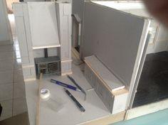 Cocina vista lateral, sin mamparos solo estufa con extractor y barra de servicio, sin piso