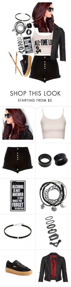 """drummer @ warped tour"" by xkitten-pokerx ❤ liked on Polyvore featuring Topshop, River Island, NOVICA, Puma and AllSaints"